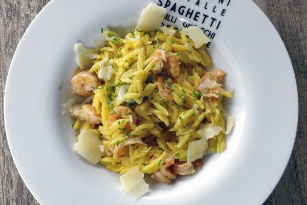 {From book to our table} Saffran orzo with shrimps, by Giada Di Laurentiis